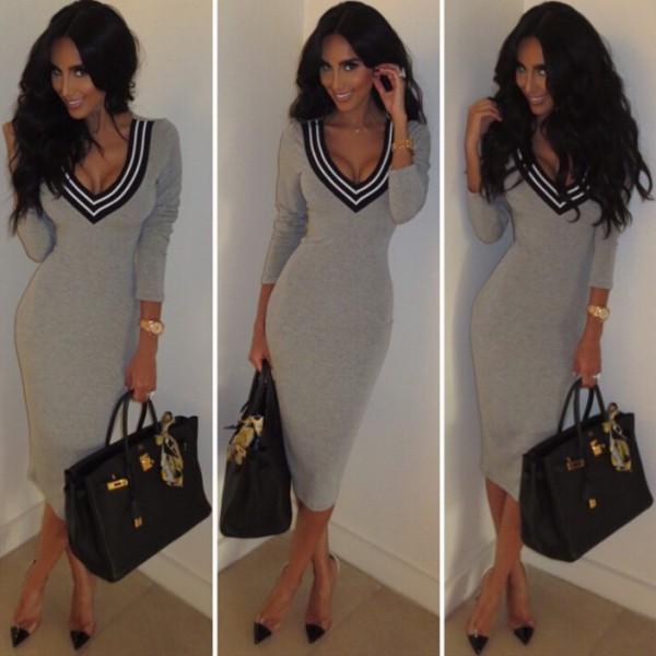 2015-Fashion-Long-Sleeve-V-neck-Dress-Sexy-Stretch-Bodycon-Dress-vestidos-femininos1