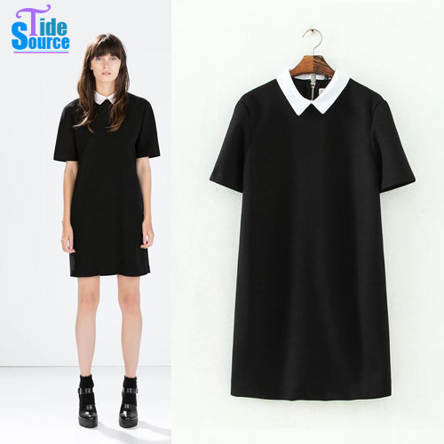 2015-Spring-New-Product-European-and-America-Style-Women-Short-Sleeve-Dress-Fashion-Breif-Peter-Pan1