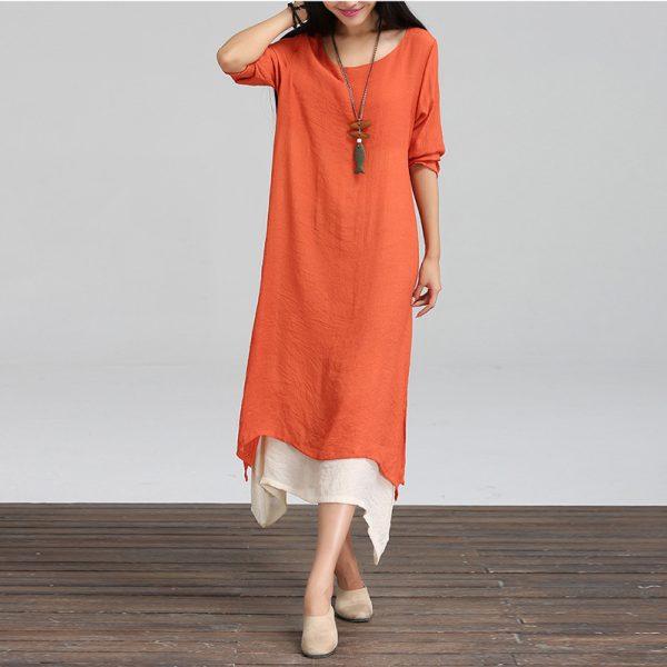 2015-Summer-Autumn-Fashion-Cotton-Linen-Vintage-Dress-Women-Casual-Loose-O-Neck-Boho-Long-Maxi1