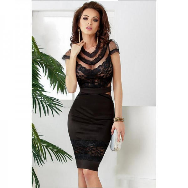 2015-new-summer-black-sexy-Banded-Floral-Lace-Dress-cute-sheath-o-neck-knee-length-midi1