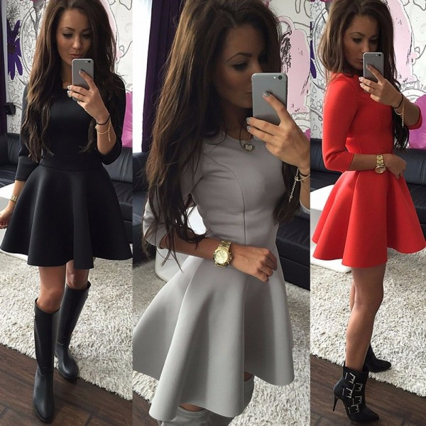 Fashion-Women-s-3-4-Sleeve-Sexy-Winter-Evening-Party-Bodycon-Mini-Skater-Dress1
