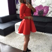 Fashion-Women-s-3-4-Sleeve-Sexy-Winter-Evening-Party-Bodycon-Mini-Skater-Dress4