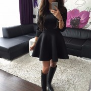 Fashion-Women-s-3-4-Sleeve-Sexy-Winter-Evening-Party-Bodycon-Mini-Skater-Dress5