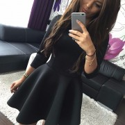 Fashion-Women-s-3-4-Sleeve-Sexy-Winter-Evening-Party-Bodycon-Mini-Skater-Dress6