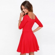 Tengo-Women-Slim-Flared-Tunic-Corrugated-Neckline-Red-Dress2