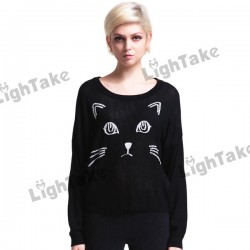 100-Brand-New-Long-Sleeve-Round-neck-Cat-Face-Printing-Loose-Knitted-Jumpers-Sweater-Black-Free-1