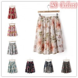 20-color-Linen-Elastic-Dot-Flower-Retro-Print-Bohemia-Beach-Pleated-Short-Skirts-For-Women-Free-1