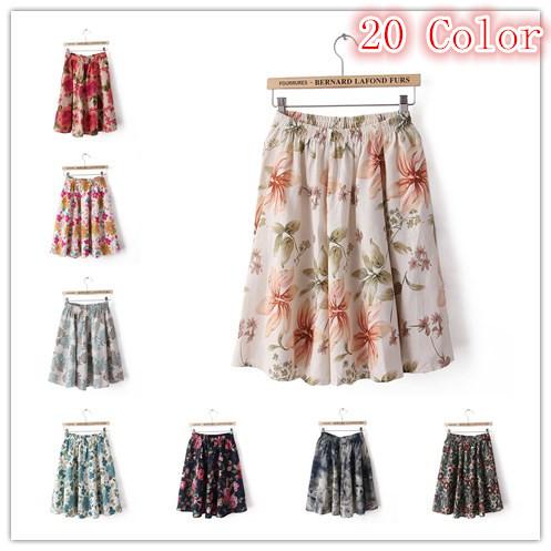20-color-Linen-Elastic-Dot-Flower-Retro-Print-Bohemia-Beach-Pleated-Short-Skirts-For-Women-Free-1