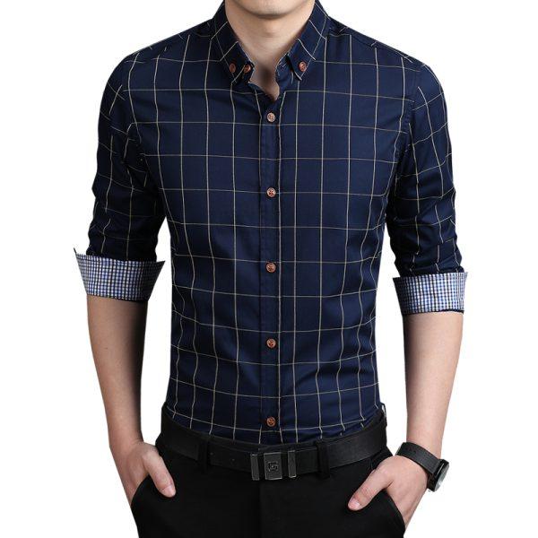 2015-100-High-Quality-Mens-Dress-Shirts-Blue-Shirt-Men-Causal-Striped-Shirt-Men-Camisa-Social-1