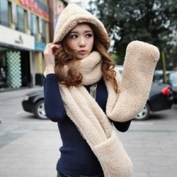 2015-Autumn-and-winter-freeshipping-super-warm-plush-sheep-Wool-cap-with-scarf-gloves-hat-Women-1