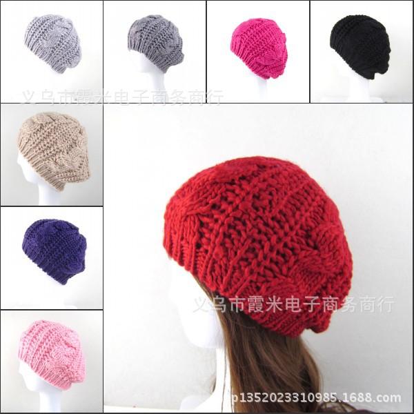 2015-Beret-Braided-Baggy-Knit-Crochet-Hat-Ski-Cap-Women-Beanie-Hat-Lady-Girls-Fashion-Cap-1