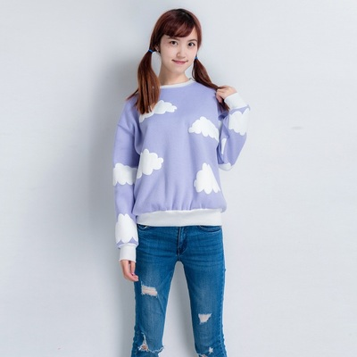 2015-Dongguk-new-clouds-print-fleece-female-loose-round-neck-sweatshirt-for-girls-1-1