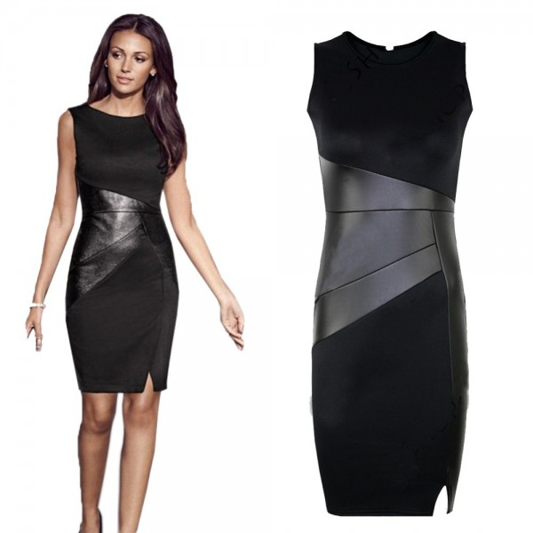 2015-Fashion-Ladies-Women-O-neck-Sleeveless-Patchwork-with-PU-leather-Work-Office-Business-Pencil-Dresses-1