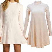 2015-Fashion-Winter-Dress-Long-Sleeve-Women-Casual-Sweater-Dresses-Ruffle-Basic-One-Piece-Pleated-Slim-2