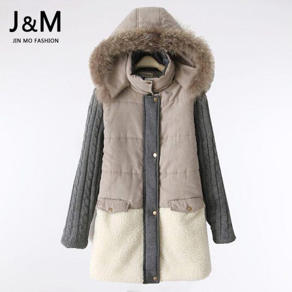 2015-High-Quality-Natural-Fur-Collar-Winter-Coat-Women-Warm-Parkas-Wool-Patchwork-Jacket-Plus-Size-1
