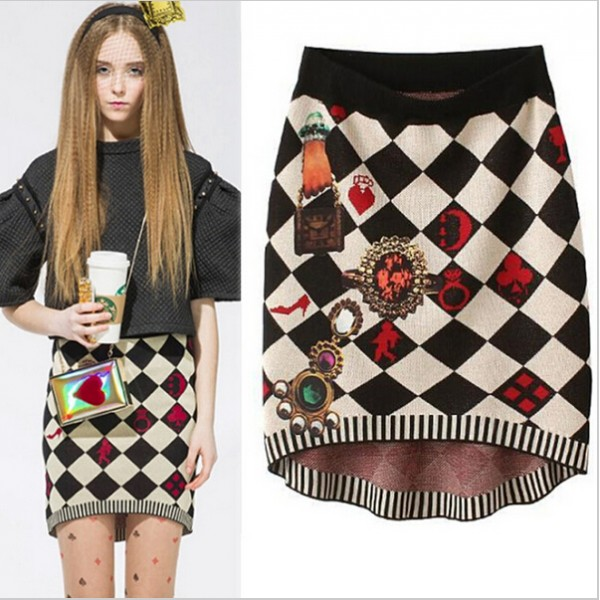 2015-Hot-Sale-New-Sexy-Knitted-Skirt-Retro-Diamond-Pattern-Printed-Skirt-Elegant-High-Quality-OL-1
