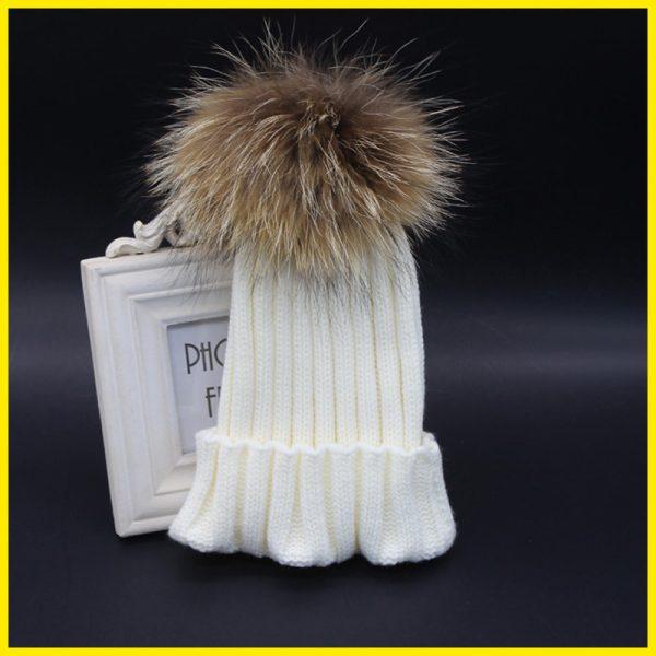 2015-New-Brand-Winter-Kids-babys-100-Real-Raccoon-Fur-Hats-Knitted-Wool-With-Gunuine-Fur-1