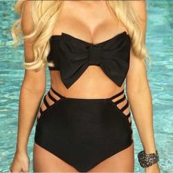 2015-Sexy-New-Women-High-Waist-Bikini-Black-Big-Bow-Strapless-Swimsuit-Swimwear-Beachwear-Plus-Size-1