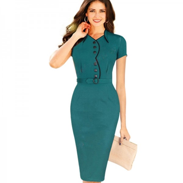 2015-Summer-Formal-Dresses-Wear-To-Knee-Decorate-Sashes-Green-Stretch-Knitting-Cotton-Bodycon-Women-Dresses-1