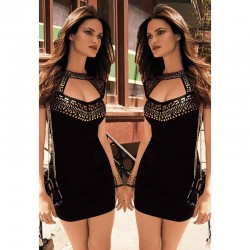 2015-Summer-Gold-Studs-Neck-Black-Mini-Dresses-Casual-Package-Hip-Pencil-Dress-For-Women-Club-1