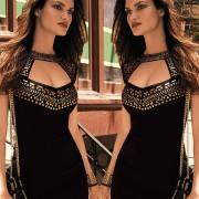 2015-Summer-Gold-Studs-Neck-Black-Mini-Dresses-Casual-Package-Hip-Pencil-Dress-For-Women-Club-2