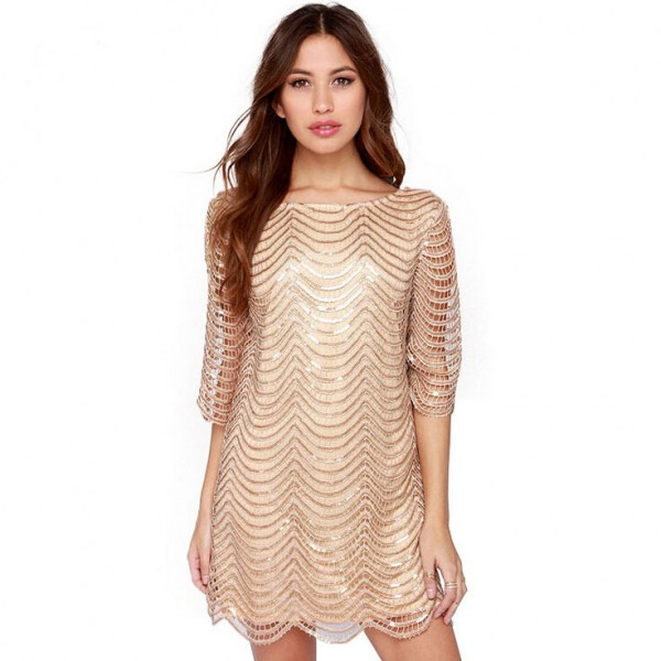 2015-Winter-dress-and-elegant-women-dress-luxury-vestidos-wavy-golden-ornaments-hollow-sleeves-women-sexy-1