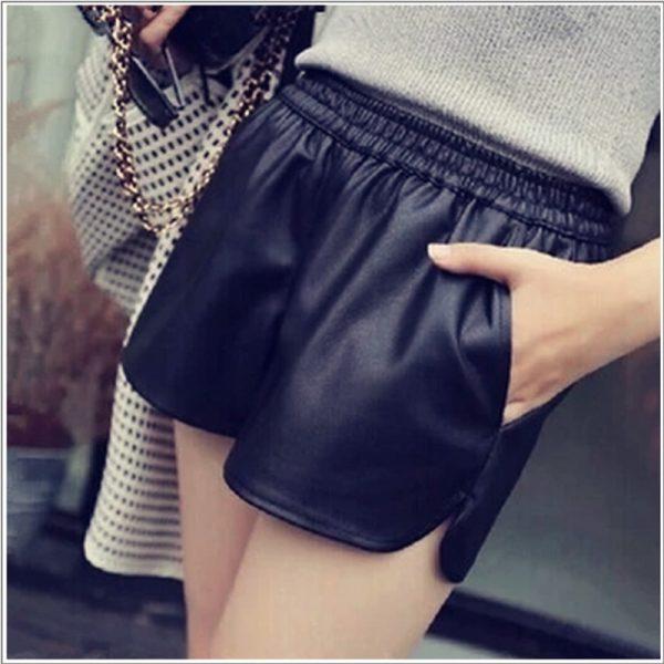 2015-autumn-and-winter-leather-shorts-women-PU-elastic-waist-fashion-shorts-female-1