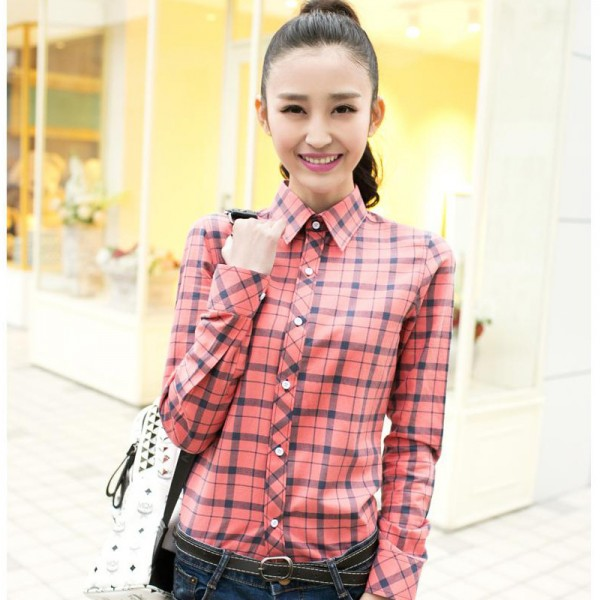 2015-autumns-and-winter-long-sleeved-plaid-shirt-women-cotton-xxl-student-College-plus-size-office-1