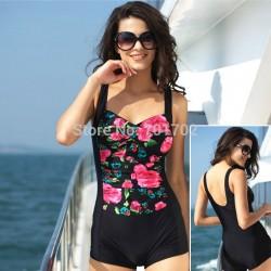 2015-flower-retro-one-piece-swimsuit-trunks-no-steel-sexy-black-blue-backless-padded-swimwear-swimming-1