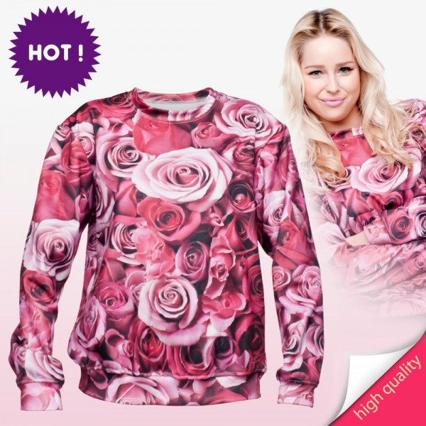 2015-new-Plus-Size-Autumn-Hoodies-Suit-Pullovers-Hoody-sweatshirts-3d-print-pink-rose-pattern-Winter-1