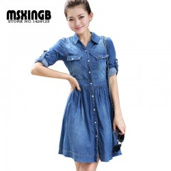 2015-new-fashion-women-denim-dresses-Half-Roll-Sleeve-Long-Denim-Dresses-smoke-banding-denim-dress-1