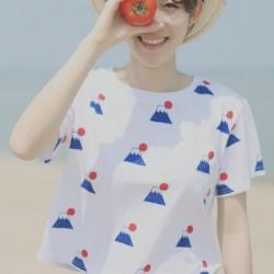 2015-summer-new-fashion-HALAJUKU-JApanese-wind-Fuji-Mountain-pattern-casual-cute-short-sleeve-women-t-1