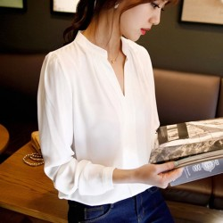 2015-summer-womens-chiffon-blouse-ladies-White-elegant-sexy-v-neck-blouses-long-sleeve-shirt-female-1