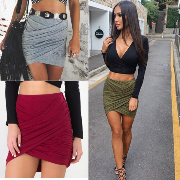 2016-American-Apparel-Street-Fashion-Women-Lady-High-Waist-Short-Skirt-Sexy-Bandage-Bodycon-Cross-Fold-1