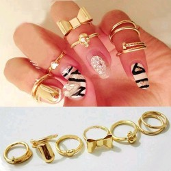 2016-New-7Pcs-Punk-Promotion-Gold-Color-Skull-Bowknot-Heart-Nail-Simple-Band-Mid-Finger-Top-1