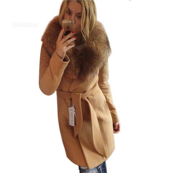 2016-Winter-Stylish-Ladies-Women-s-Casual-Large-Lapel-Fur-Collar-Outwear-Bow-Belt-Wool-Jacket-1