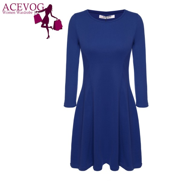 ACEVOG-Women-Casual-Autumn-Winter-Dress-Knee-Length-Midi-Cotton-Blend-3-4-Sleeve-Slim-Fitted-1
