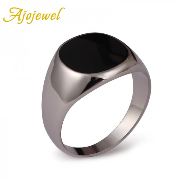 Ajojewel-Brand-6-5-13-Hot-Sale-Classic-Men-Jewelry-18K-White-Gold-Plated-Enamel-Black-1
