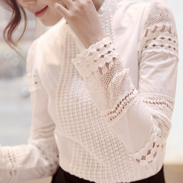 Autumn-Korean-OL-style-sweet-lady-lace-hollow-long-sleeved-shirt-stand-collar-white-blouse-women-1