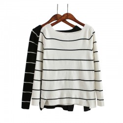 B904-New-Fashion-Ladies-Elegant-vintage-Striped-Women-White-black-Sweater-O-Neck-full-Sleeve-Sweet-1