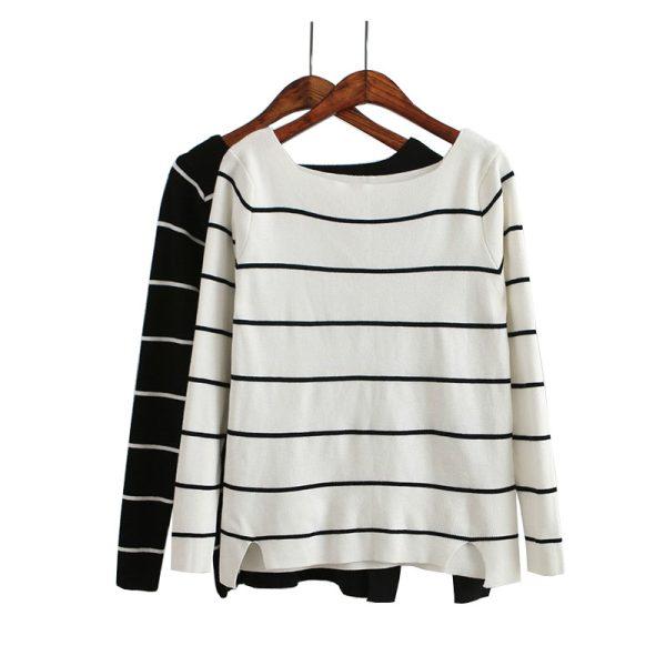 B904-New-Fashion-Ladies-Elegant-vintage-Striped-Women-White-black-Sweater-O-Neck-full-Sleeve-Sweet-1