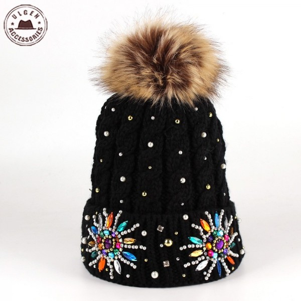 Balaclava-Ulgen-Mystical-Knitted-Beanie-With-Ball-Hats-Jewel-Pom-Cap-Pearl-Candy-Gems-Embellished-Cool-1