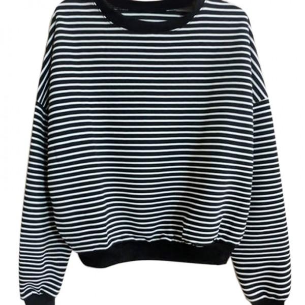 Black-White-Stripe-Long-Sleeve-Drop-Shoulder-Loose-Casual-Sweatshirt-Size-M-L-2016-Spring-New-1