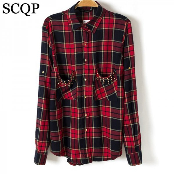 Blusas-Femininas-Casual-Womens-Tops-Turn-Down-Collar-Blouse-Long-Sleeve-Plaid-Print-With-Rivet-Pockets-1