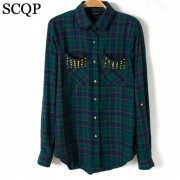 Blusas-Femininas-Casual-Womens-Tops-Turn-Down-Collar-Blouse-Long-Sleeve-Plaid-Print-With-Rivet-Pockets-4