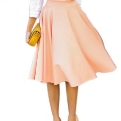 CHOIES-Women-Perfect-Peach-Pink-Pleats-A-line-Saias-Femininas-Flared-High-Waist-Midi-Skater-Skirt-1