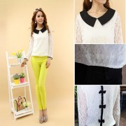Casual-Korea-Style-Women-Slim-Lace-Lapel-Short-Sleeve-Blouse-Tops-Loose-Sailor-Collar-Summer-S-6