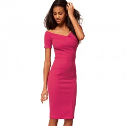 Casual-Office-women-off-Shoulder-Solid-Wear-to-Work-Sexy-V-neck-knee-length-Zipper-Back-1