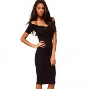 Casual-Office-women-off-Shoulder-Solid-Wear-to-Work-Sexy-V-neck-knee-length-Zipper-Back-4
