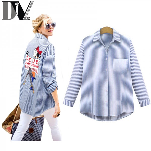 DIV-Brand-Summer-Women-Shirts-One-Pocket-Turn-down-Collar-Full-Sleeves-Casual-Tops-New-Design-1